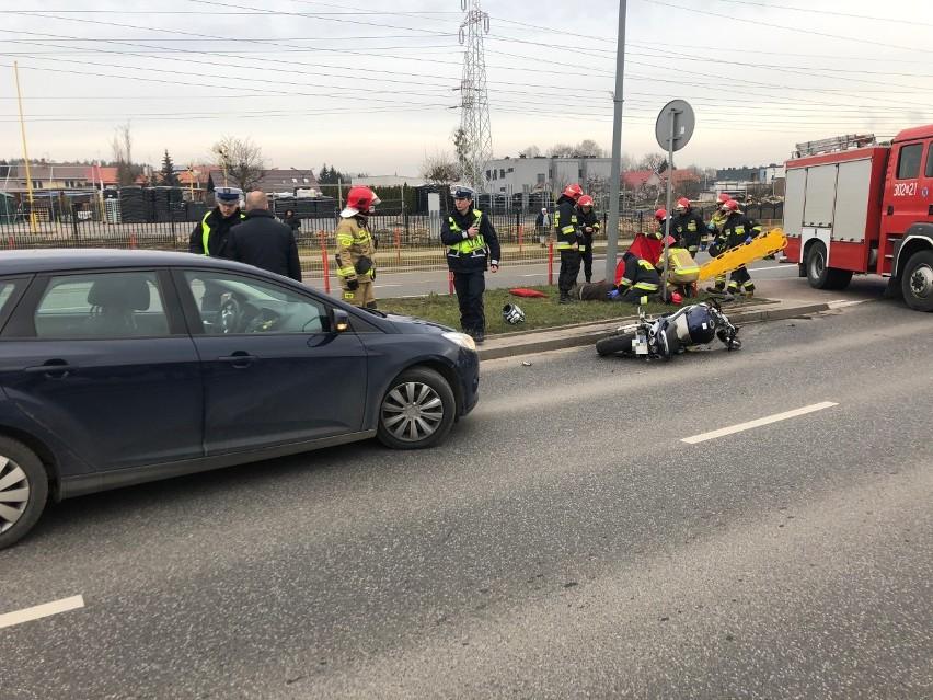 Wypadek motocyklisty na ulicy generała Hallera