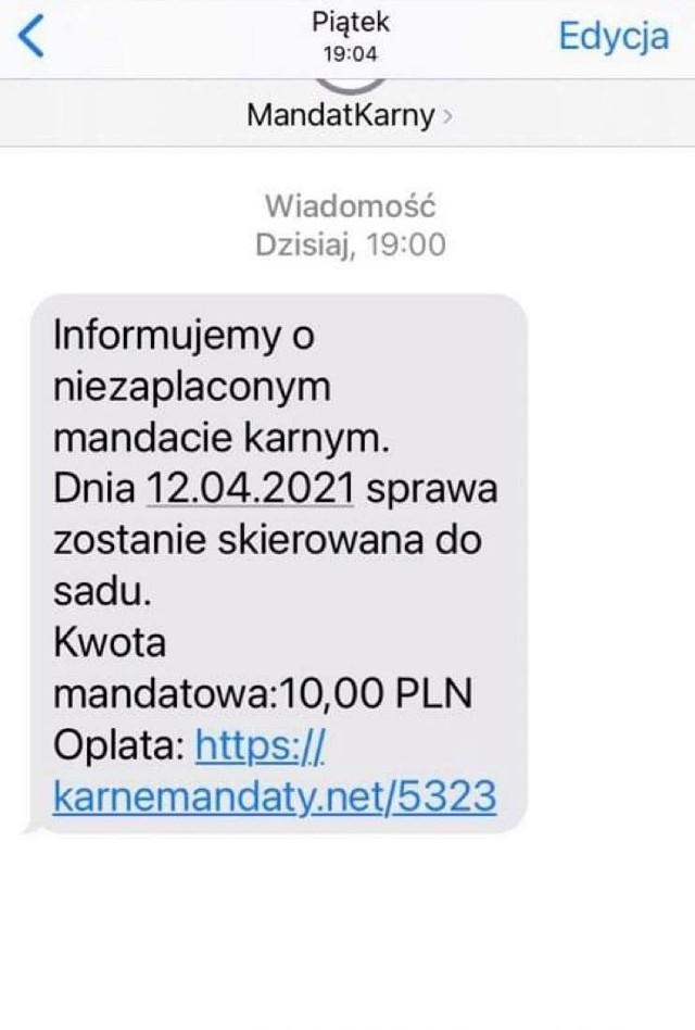 Oszuści wysyłają fałszywe SMS-y o nieopłaconym mandacie i próbują wyłudzić dane