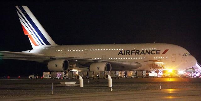 Samolot Air France na lotnisku w Salt Lake City