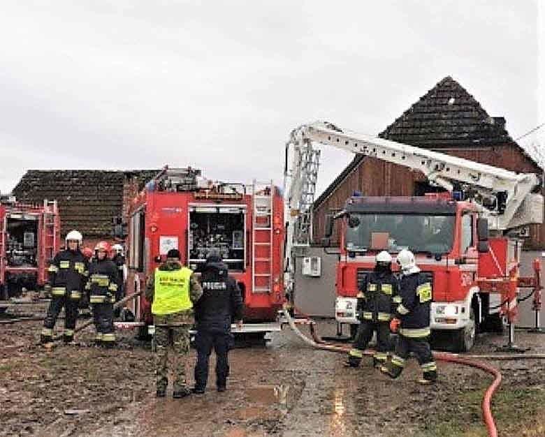 Pożar domu w Starym Jarosławiu 22.02.2020