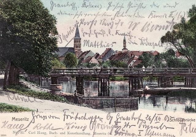 Most zamkowy na litografii z początku XX w.