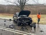 Wypadek na trasie Kartuzy - Smętowo Chmieleńskie 13.03.2021 r. Cztery osoby zostały ranne