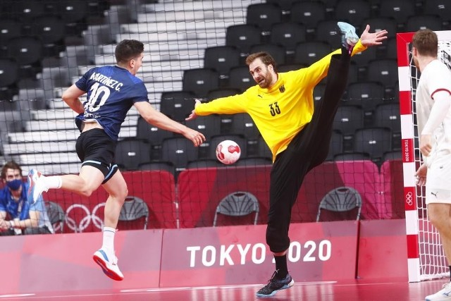 Andreas Wolff z Łomża Vive Kielce podczas meczu Niemcy - Argentyna.