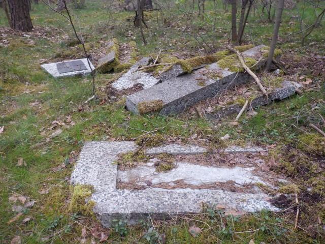 Fragmenty nagrobka i płyta z nazwiskiem zmarłego wywieziono do Lasu Gdańskiego w pobliżu ruchliwej drogi krajowej nr 5 Bydgoszcz - Osielsko