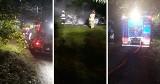 Pożar samochodów na parkingu w Sycowej Hucie pod Kościerzyną. 26.07.2021 r. Spłonęły BMW i mercedes. To podpalenie?
