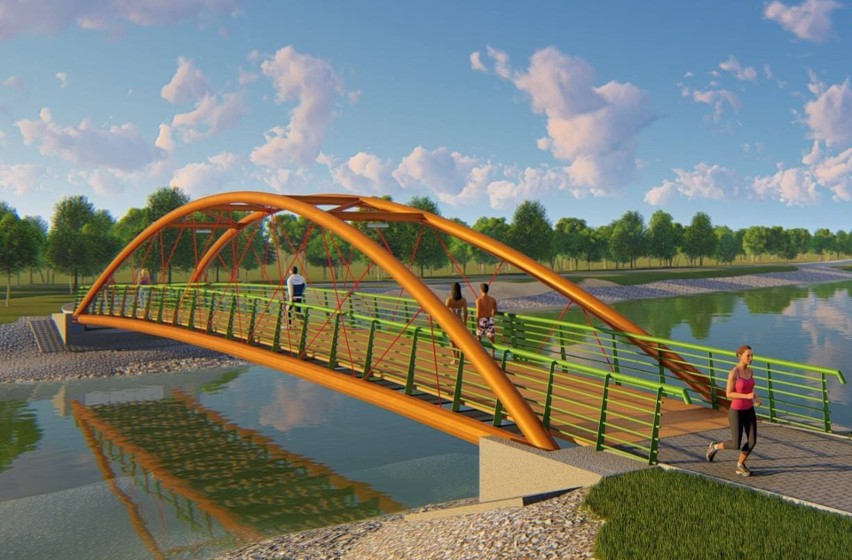 Metalowo-drewniany most nad zalewem będzie miał 42 metry długości i 3,5 metra szerokości. Kładka będzie oświetlona.