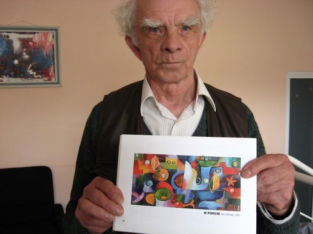 """- Jeden z obrazów, które mi zginęły, przypominał trochę ten - pokazuje Włodzimierz Mierzyński.- To był cały cykl prac pod tytułem """"Porty morskie""""."""