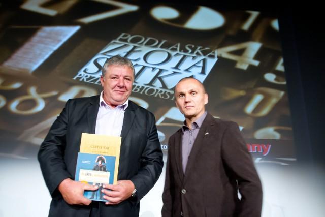 Anatol Timoszuk, obecnie prezes firmy DEF, podczas gali Podlaskiej Złotej Setki Przedsiębiorstw Kuriera Porannego, w towarzystwie generała Romana Polko, gościa imprezy