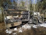Pożar samochodu dostawczego w okolicach ronda Połupin