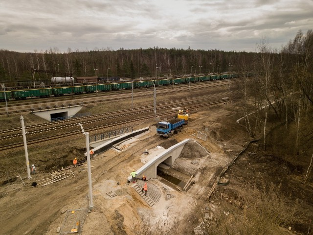 W kwietniu wykonawca rozpoczął roboty na 11-km odcinku między Siewierzem a terenem przyszłej stacji Pyrzowice Lotnisko. Przy pomocy maszyn przygotowywany jest teren do ułożenia nowego toruZobacz kolejne zdjęcia. Przesuwaj zdjęcia w prawo - naciśnij strzałkę lub przycisk NASTĘPNE