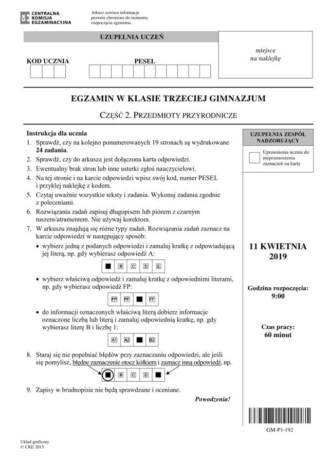 Egzamin gimnazjalny 2019 PRZYRODA