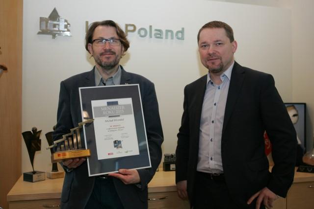Michał Wrembel, dyrektor ICT Poland i Grzegorz Widenka, prezes Polska Press sp. z o.o. Oddział w Zielonej Górze.