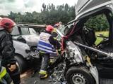 Groźny wypadek czterech samochodów. Lądował śmigłowiec LPR