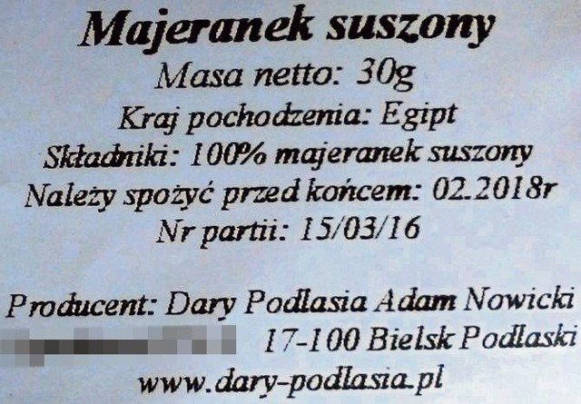 Etykieta egipskiej przyprawy wyprodukowanej w Bielsku Podlaskim.