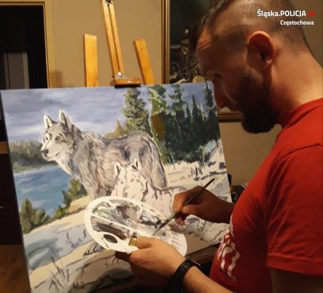 Policyjny twardziel z duszą artysty. Funkcjonariusz z Częstochowy maluje obrazy i robi to całkiem dobrze.Zobacz kolejne zdjęcia. Przesuwaj zdjęcia w prawo - naciśnij strzałkę lub przycisk NASTĘPNE