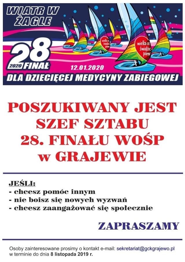 28 Finał Wielkiej Orkiestry Świątecznej Pomocy w Grajewie. Poszukiwany szef sztabu WOŚP