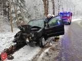 Wypadek w gm. Polanów. Citroen uderzył w drzewo