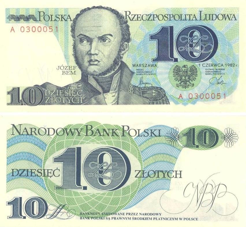 Banknot 10 zł przedstawiał gen. Józefa Bema....