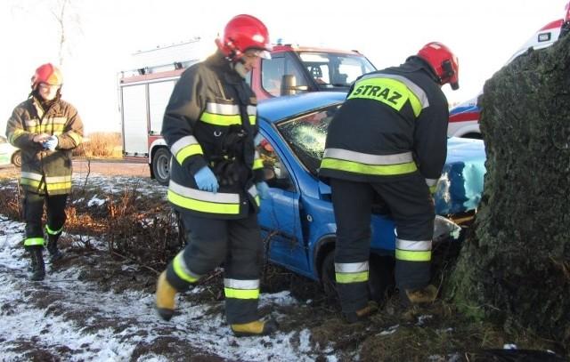 Po przybyciu na miejsce zdarzenia kierujący działaniem ratowniczym ustalił, że samochód osobowy Opel Corsa, którym podróżowały 2 osoby (kobieta w wieku 31 lat i dziecko w wieku 4 lat) uderzył  w przydrożne drzewo i zatrzymał się rowie.