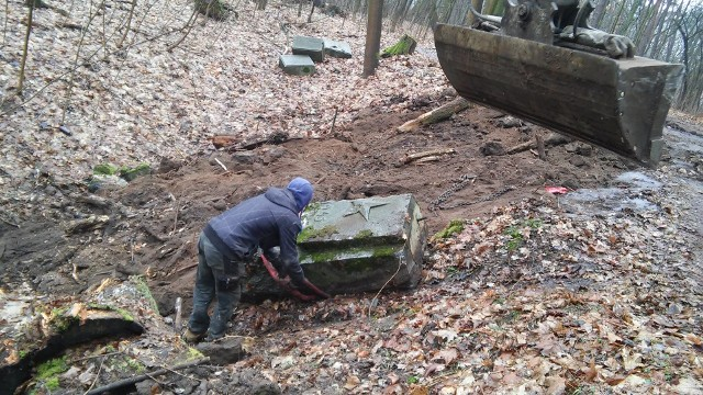 Wywóz bloków z Lasu Osobowickiego