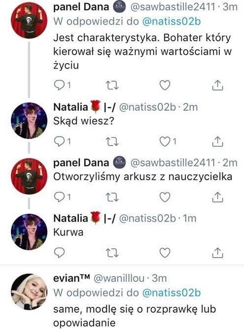 Ta rozmowa ma być przesłanką, że w jednej z polskich szkół doszło do przecieku. Użytkownik Twittera zamieścił też w internecie zdjęcia arkuszy