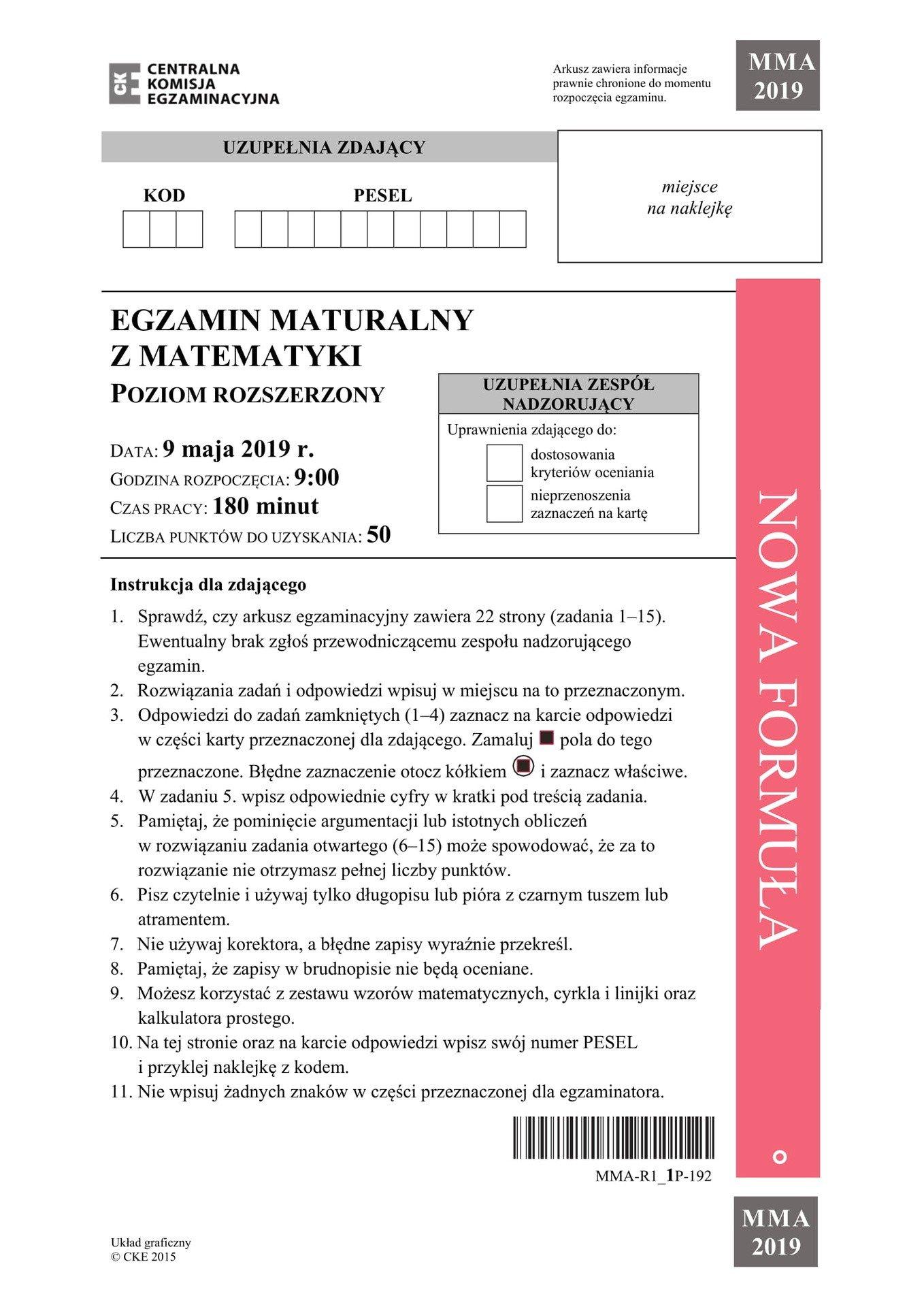 matura matematyka rozszerzona maj 2019