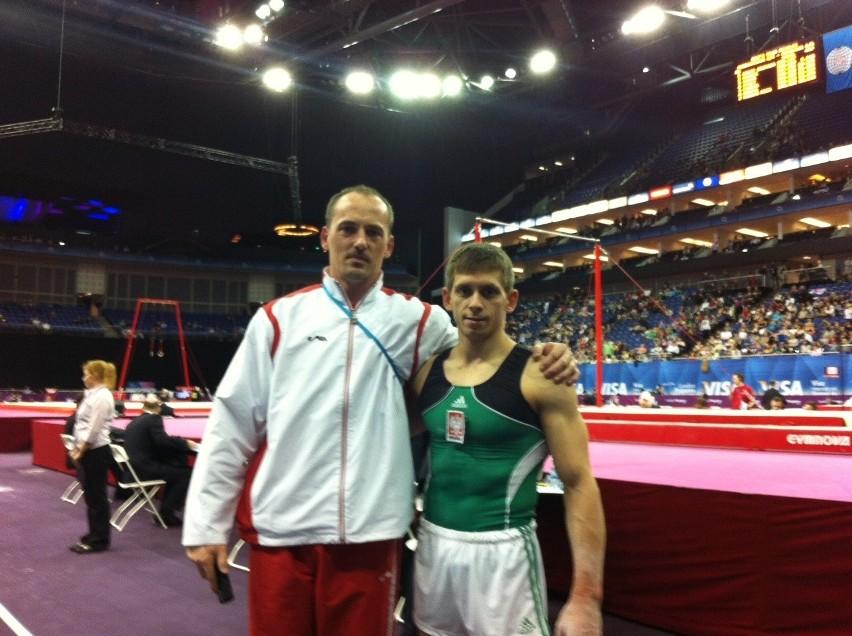 Roman Kulesza z trenerem Piotrem Mikołajko podczas tegorocznych zawodów przedolimpijskich w Londynie