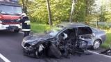 Wypadek na DK 65: Zderzenie audi z tirem. 26-latek zasnął za kierownicą (zdjęcia)