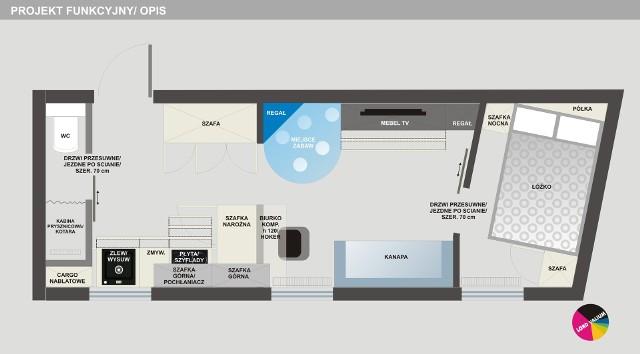 Projekt mieszkania w kształcie trapezuProjekt funkcyjny mieszkania zakłada praktyczny układ pomieszczeń.