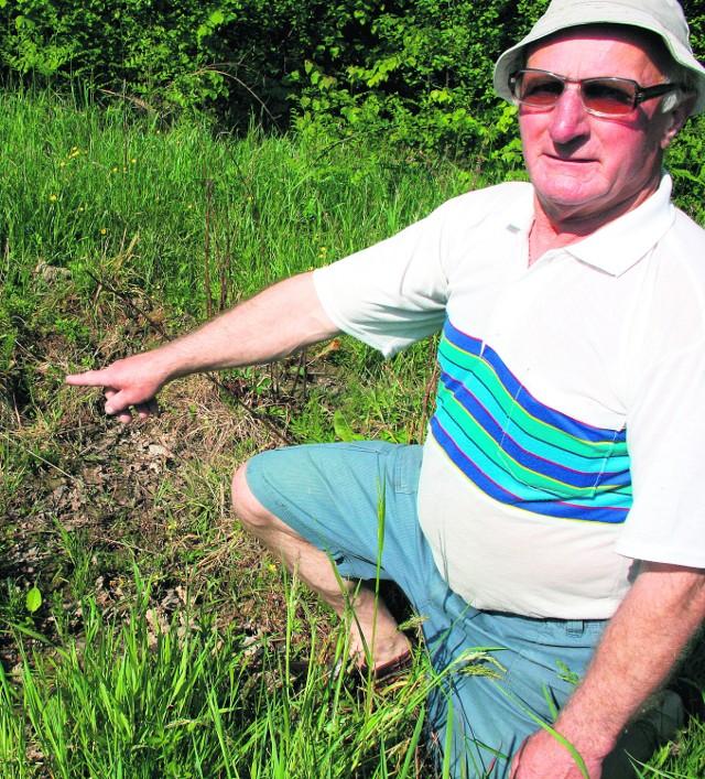 Leonard Grzyb ze Zbywaczówki czeka na odszkodowanie za zniszczoną łąkę