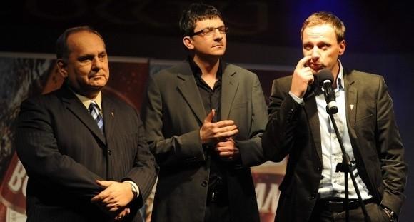 Najważniejsi ludzie w zarządzie Pogoni. Od lewej Jarosław Mroczek, Artur Kałużny i Grzegorz Smolny.