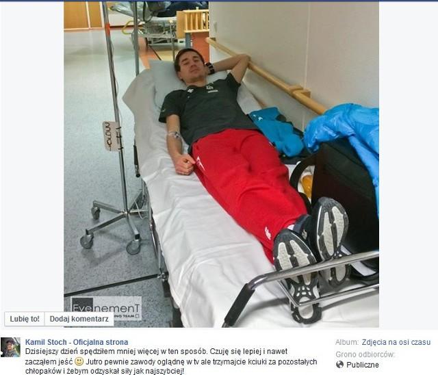 Kamil Stoch trafił do szpitala. skoczek obejrzy Puchar Świata w Kuopio na telewizorze