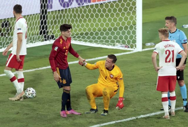 Fragment meczu Polska - Hiszpania na Euro 2020