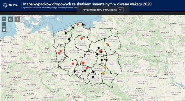 Każdego dnia, przez okres całych wakacji, na stronie Mapa Wypadków Drogowych ze skutkiem śmiertelnym – Wakacje 2020;nf prezentowana będzie mapa z liczbą wypadków drogowych ze skutkiem śmiertelnym z ostatniej doby oraz od początku wakacji. Bieżąca aktualizacja, w tym wizualizacja danych, ma na celu zwrócenie uwagi na skalę tragedii, do jakich dochodzi na polskich drogach i  skłonienie do refleksji użytkowników dróg.
