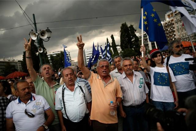 Demonstracja w Atenach za pozostaniem w UE