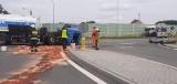 Groźny wypadek w Myślinie. Zderzyły się dwie ciężarówki. Z jednej urwała się kabina!