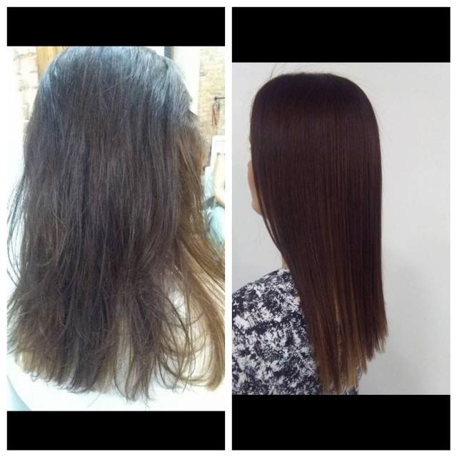 Keratynowe prostowanie włosów - przed i po.
