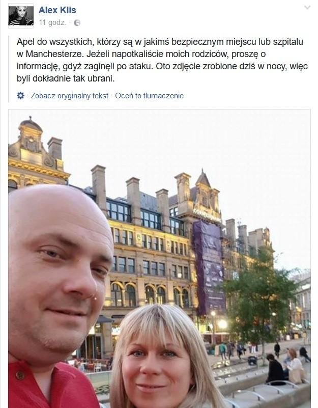 Córka szuka rodziców po zamachu w Manchesterze