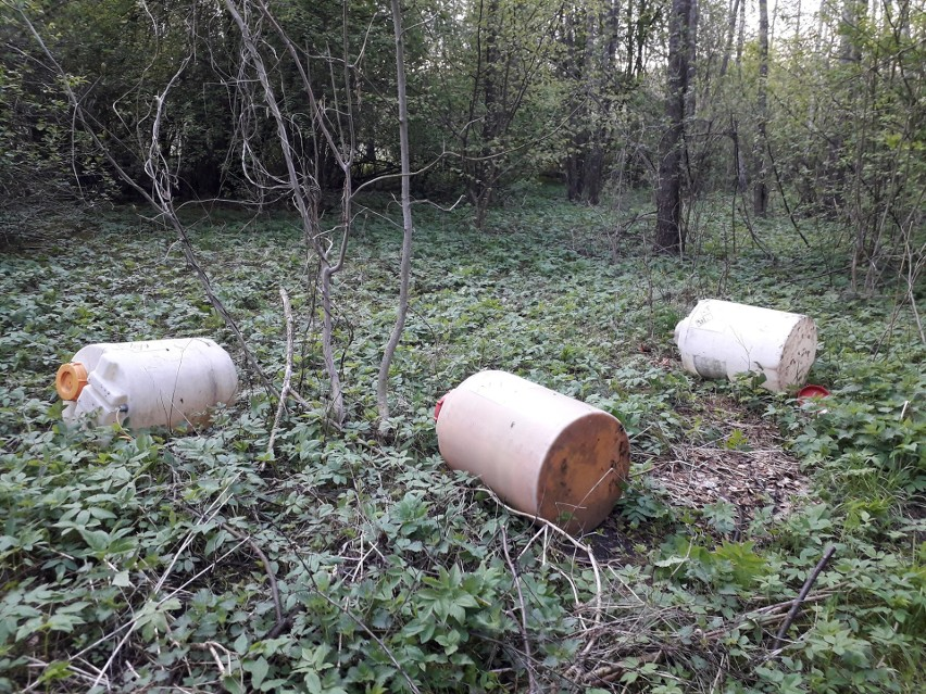 Beczki leżące w lesie koło Uhowa zawierają niebezpieczne...