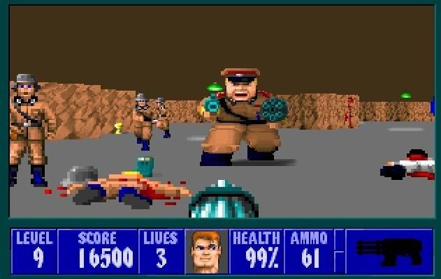 Tak wyglądała gra Wolfenstein 3D. Choć grafika nie powalała, a dźwięk przypominał przypadkowe zestawienie pisków i zgrzytów, to gra zdobyła ogromną popularność na całym świecie.
