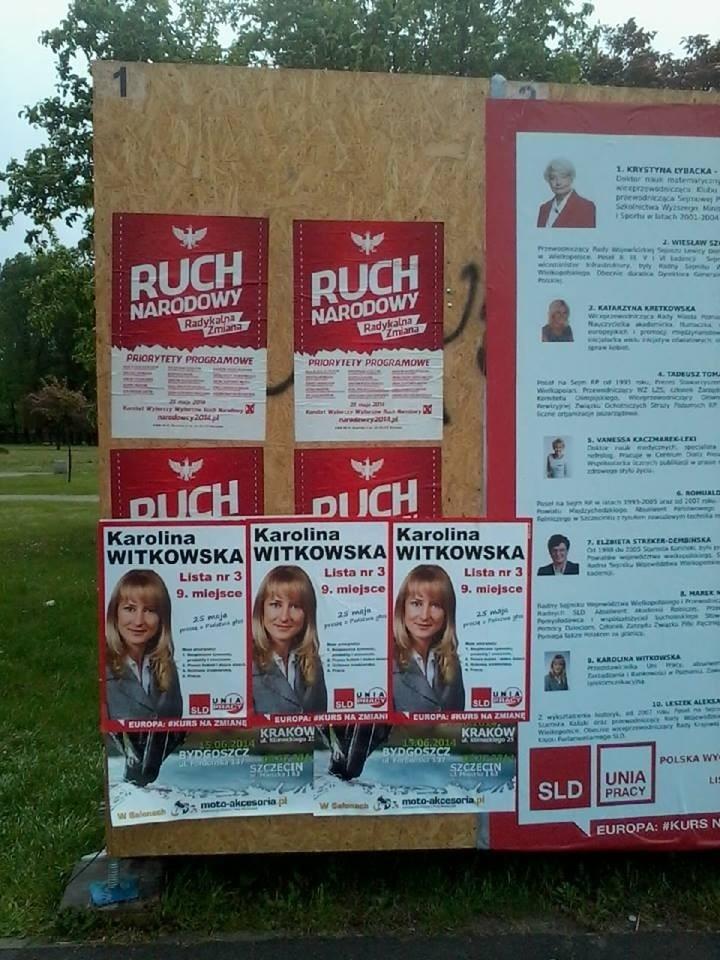 Plakaty Karoliny Witkowskiej zawisły w nieodpowiednim miejscu