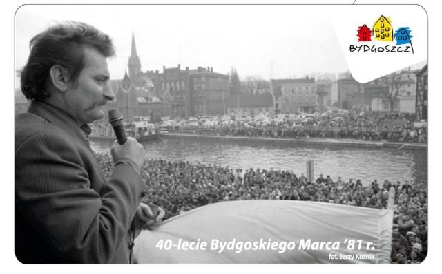 Na grafice Bydgoskiej Karty Miejskiej umieszczona zostanie fotografia Lecha Wałęsy przemawiającego do bydgoszczan zebranych przy ulicy Mostowej