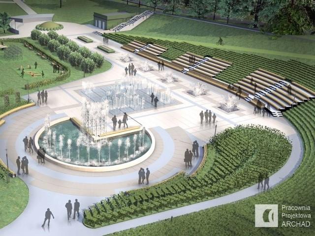 Projekt amfiteatru przy fontannie multimedialnej w Rzeszowie.