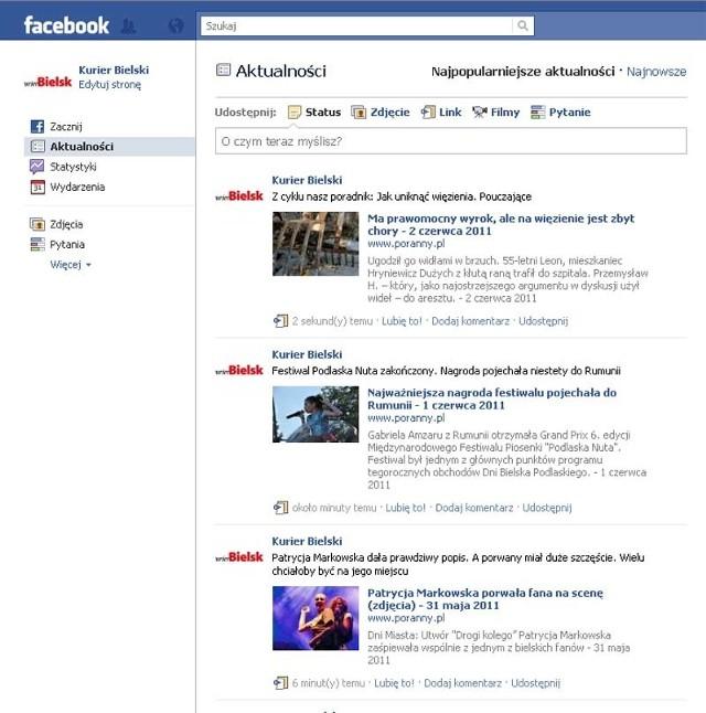 Fanpage Kuriera Bielskiego na FaceBooku