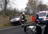 Wypadek na DW 790: dachowanie tuż za Podzamczem. 12-latek w szpitalu ZDJĘCIA
