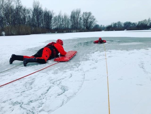 Aby uratować zwierzę z lodowej pułapki użyto deskosań.