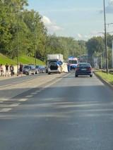 Wypadek w Bytomiu na ul. Łagiewnickiej. Potrącony pieszy. Reanimowany był kierowca. Niestety, zmarł