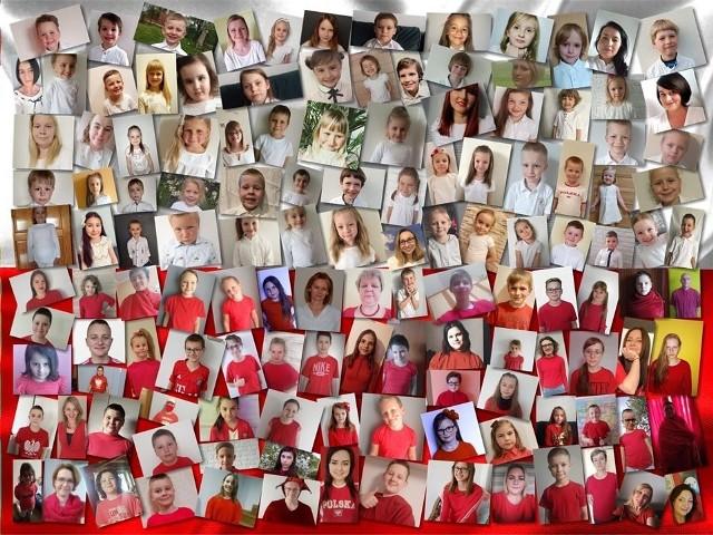 Uczniowie, nauczyciele i pracownicy szkoły w Będkowicach ze swoich zdjęć utworzyli flagę Polski