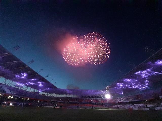 Efektowny pokaz fajerwerków zakończył fetę Podbeskidzia z okazji awansu do ekstraklasy.