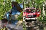 Katastrofa samolotu: Pilot zginął na oczach dzieci. Samolot zapikował w las. Tragedia na pikniku lotniczym pod Kłobuckiem